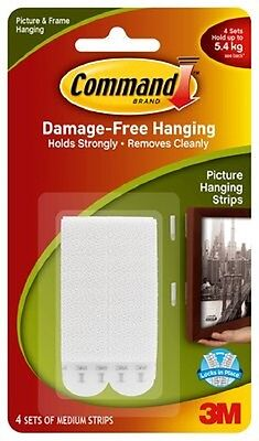 Command 3M Damage free Picture Hanging Strips Set of 4 Holds up to 5.4kg ***1571