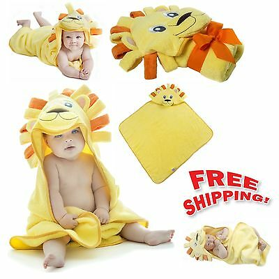 Lion Hooded Baby Towel Natural Cotton Bath Kids Infant Toddler Bathrobe Blanket