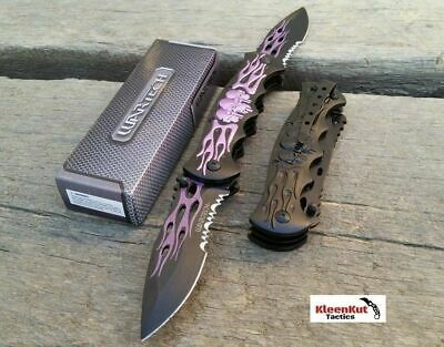 "NEW 12"" TACTICAL Spring Assisted SKULL Pocket Knife DOUBLE BLADE Folding PURPLE"