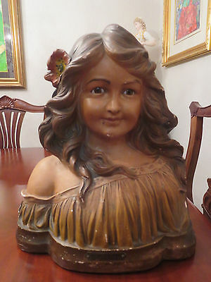 """Large Glass Eyes Vintage French Chalk-ware Bust. Young Lady """"Rose de Mai"""""""
