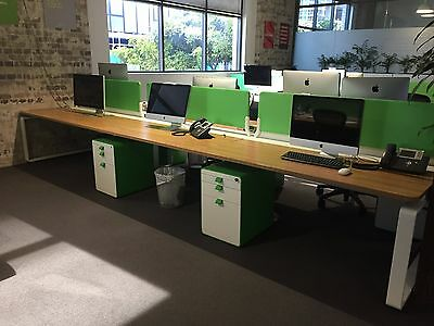 Herman Miller 6 seat Arras Workstation / wood tops / white legs / lime dividers
