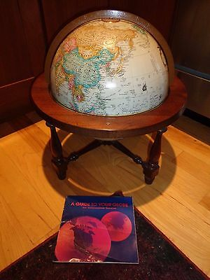 "REPLOGLE 12"" inch diameter Globe World Classic Series Table Wood 4 leg base"