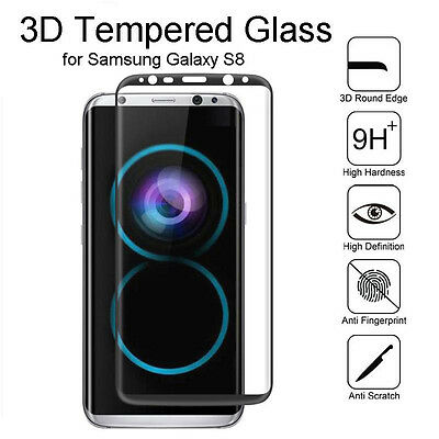 For Samsung Galaxy S8 Plus - Full Coverage Tempered Glass Screen Protector LOT