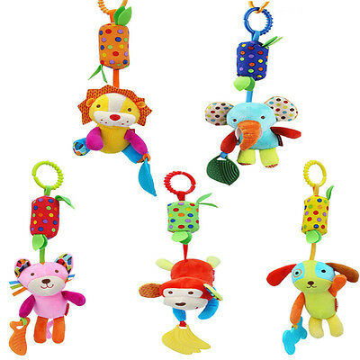 US STOCK Newborn Baby Rattles Plush Animal Stroller Music Hanging Bell Toy Doll