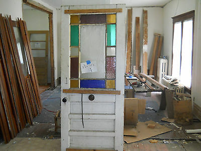 Antique Victorian Style Entry Door Color Glass 1900's Fir Architectural Salvage
