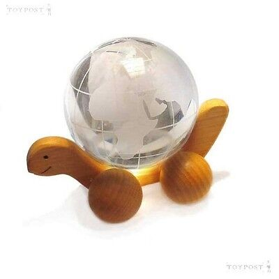 Earth Marble, Clear Glass 60mm on Wooden Turtle
