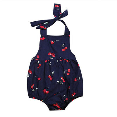 AU Kids Baby Infant Girl Cherry Romper Jumpsuit Newborn Bodysuit Cherry Outfits