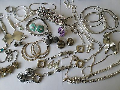 Job lot nice silver tone costume jewellery earrings bangles necklaces rings Y