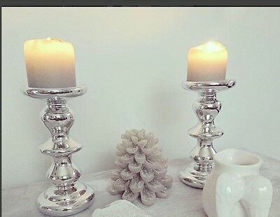Contemporary Silver Chrome Candlestick Holder and White Pillar Candle X2 BNIB
