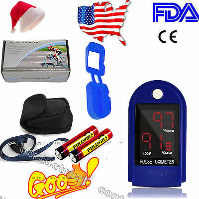 USA Finger Tip Pulse Oximeter Blood Oxygen SPO2 PR Monitor CONTEC,battery,rubber