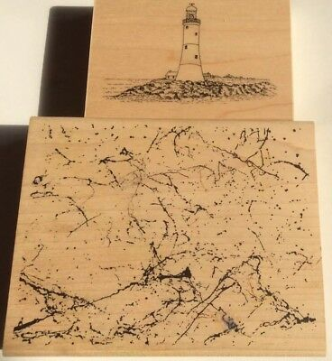 2 Large Rubber Stamps. Background and Lighthouse. *details below****