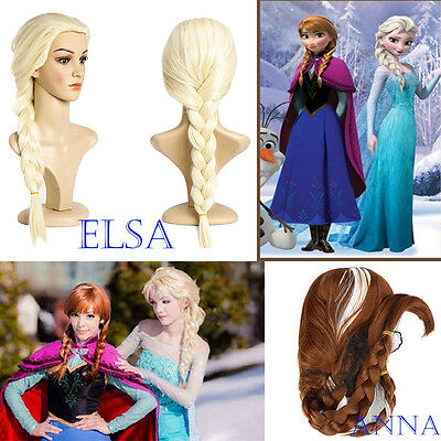 AU Frozen Elsa Anna Wig Party Costume Princess Ice Queen Wig Cosplay Child Adult
