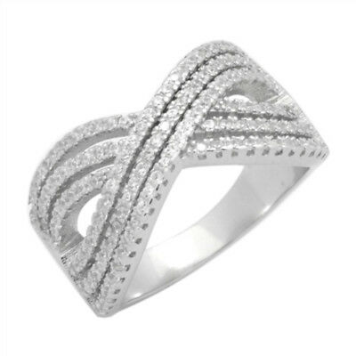 X Ring Crisscross Crossover Fashion Micro Pave Round CZ 925 Sterling Silver