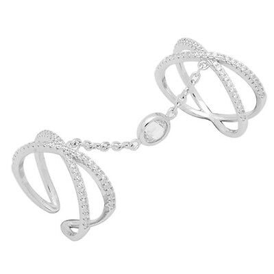 Fashion Trendy Crisscross X Knuckle Chain Ring Round Pave CZ 925 Sterling Silver