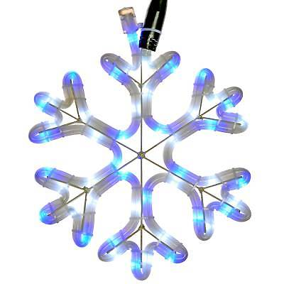 30cm Pre-Lit Snowflake Rope Light Silhouette Christmas Decoration, Blue & White
