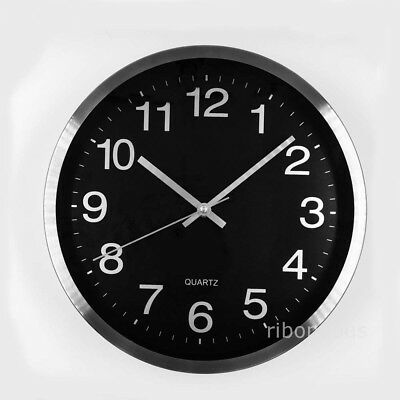 Simple Modern Design Silent Round Wall Mountable Quartz Clock Black Bottom New