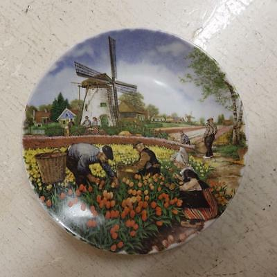 Vintage royal schwabap,holland decorated pin dish/wall plate,windmill and tulips