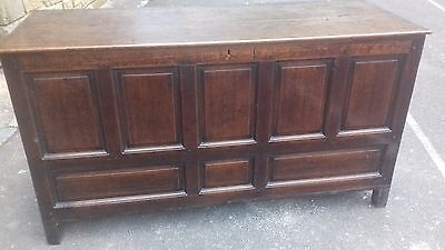 Very Large Solid Oak V Early 19Thc Antique Handmade Chest/coffer/kist