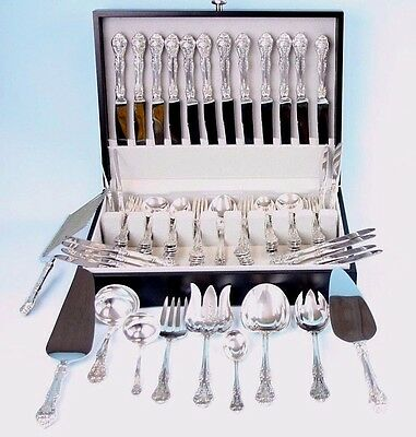 GORHAM KING EDWARD LARGE STERLING SILVER SET FOR 12 EXCELLENT 83 pcs