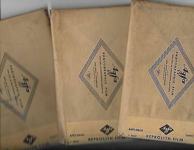 Vintage  Photographic  Film * Agfa * Reprolith Film * 3 Sealed Packages  *