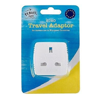 UK 3 pin To EU 2 pin Travel Adapter Plug Holiday Essential