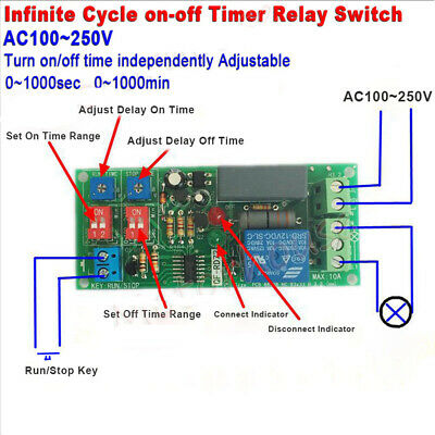 Cycle Delay Timing Timer Relay Switch Turn ON/OFF Module AC 110V 120V 220V 230V