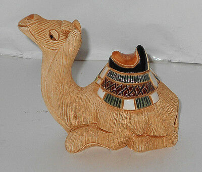 "Vintage Hand Painted Pottery/ Glass Sitting 4' x 4.5"" Camel Figurine w/ saddle"
