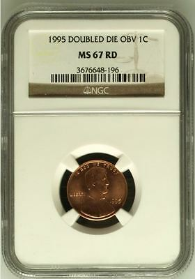 1995 Lincoln cent (Memorial) Double Die Obverse Error MS 67 Red NGC