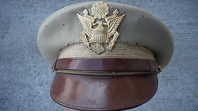 U.S. WWII Army Officers Tan Wool Visor Hat with Full Leather Chin Strap