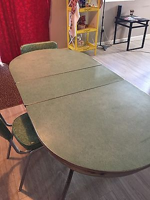 Vintage FORMICA & CHROME TABLE 1952 Cracked Ice w/staining w/ 4 chairs