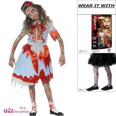 26f47d3bcc055 Girls Zombie Country Girl Fairytale Dorothy Halloween Fancy Dress Costume  Tights