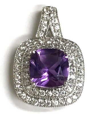 Sterling Silver - Cushion Faceted Amethyst & CZ - Split Bail Double Halo Pendant
