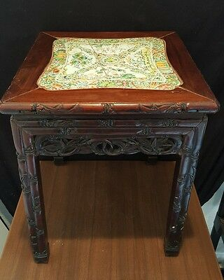 "Gorgeous Mid 19th Century Canton Porcelain Top Carved Wood Side Table 20""x16""x16"