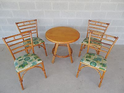 Haywood Wakefield Rattan Table & 4 Chairs Dinette Set