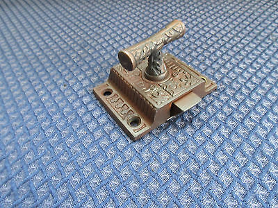 Antique Cast Iron Eastlake Brass T Knob Jelly Cabinet Cupboarb Door Latch Vtg.