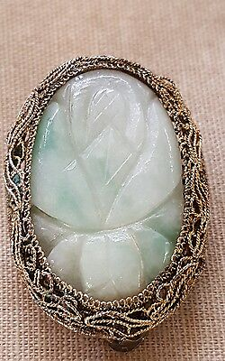 ANTIQUE CHINESE Carved JADE & SILVER Filigree Jadeite CLIP Green Apple
