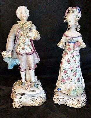 Pair Cordey Porcelain Figurines Victorian Lady and Gentleman Very Rare