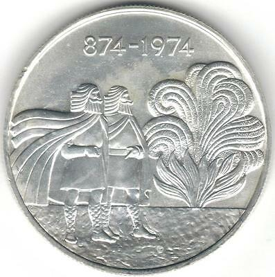TMM* 1974 Iceland silver coin 1000 Kronur Ch Unc