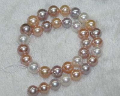 9-10MM Natural multicolor round freshwater pearls loose Beads 15""