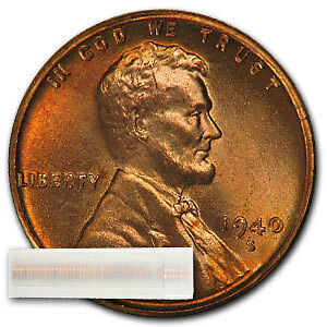 1940-S Lincoln Cent 50ct Roll BU