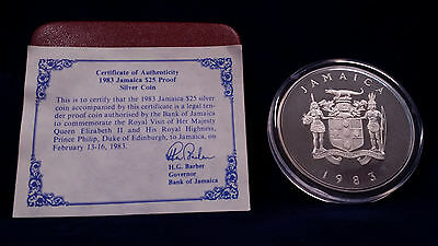 1983 Jamaica $25 Silver Coin w/ BOX AND COA