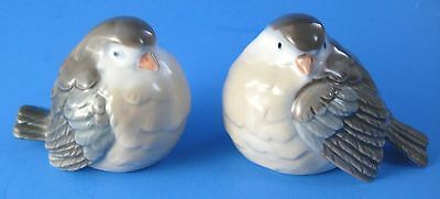 Pair of Otagiri Bird Figurines Chubby Brown White Blue Gray Made in Japan