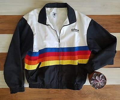 VINTAGE RARE 70's 80's USA Mopar Performance Rainbow Black Lined Jacket M