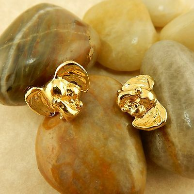 Gold plated 3D Elephant earrings, good luck trunk up