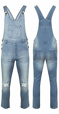 Ladies Slim Fit Ripped Wash Denim Long Stretch Dungarees Dress Jumpsuit