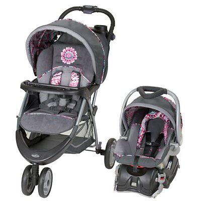 Baby Stroller Combo For Girls With Car Seat Pink Gray Paisley Trim Travel System