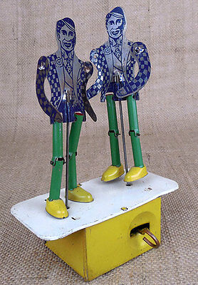Jitter-Bug Dancers mechanical tin jigger duo Chime Toy Canada 1930s
