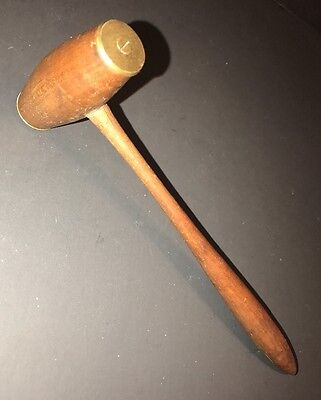 Antique Gavel Victorian Style Wood Brass Ends Maul Mallet Judge Auctioneer