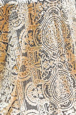 "Antique Point de Venise Lace Tablecloth, 140"" x 70"", Cream or Ivory, No Stains"
