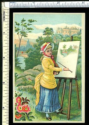 CHAMPERICO COFFEE Victorian Trade Card; Brightly Dressed Girl in Bonnet Painting